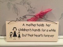 Mother & Children Mother's Day Quote ~ Cream Wooden Hanging Sign
